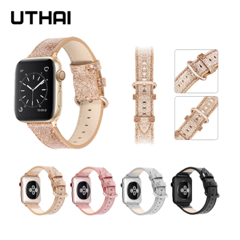 UTHAI Leather strap For Apple Watch band 40mm 44mm apple wtch 4/5 Fashion Strap Bracelet  iWatch 3/2/1 - discount item  15% OFF Watches Accessories
