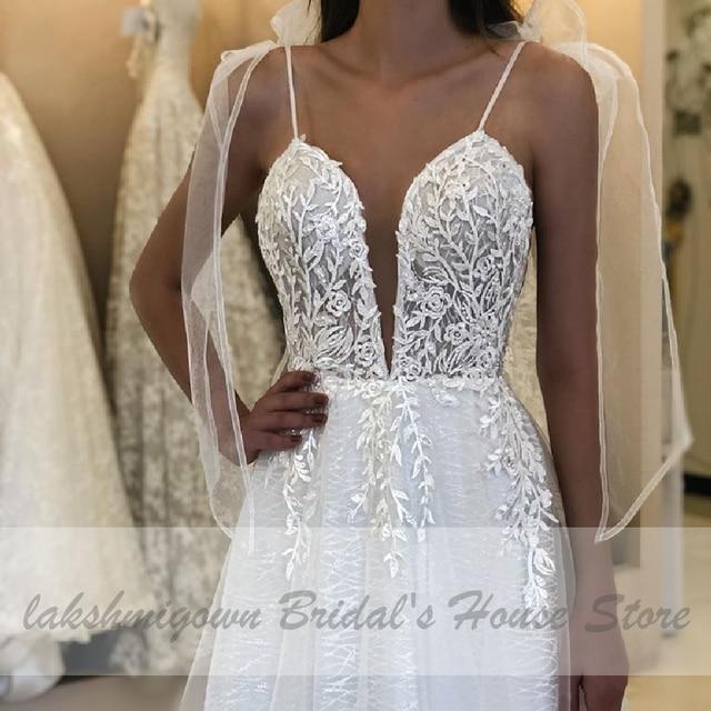 Deep V-neck Sexy Bridal Wedding Dress 2021 Robe Boheme Glitter Tulle New Mariage Wedding Gowns Vestidos Boho Wedding Dresses 4
