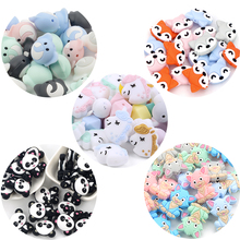 Wholesale 50pcs Silicone Beads Animal Unicorn Cute Beads Baby Teething Food Grade Panda Baby Care Pacifier Chain Gift DIY Foxes
