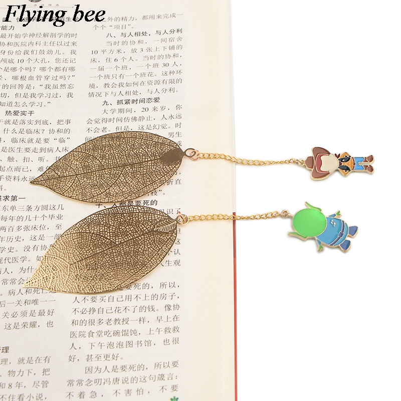 20pcs/lot Flyingbee Leave Pendant Cartoon Metal Bookmarks Cool Book Markers Page Holder For Books Stationery Gifts X0781