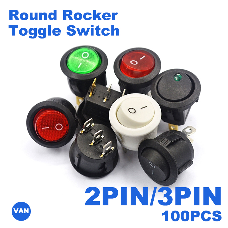 30/50/100 шт 2PIN/3PIN красные, черные белые на включение/выключение 6A/250V круглый тумблер Пластик кнопочный переключатель