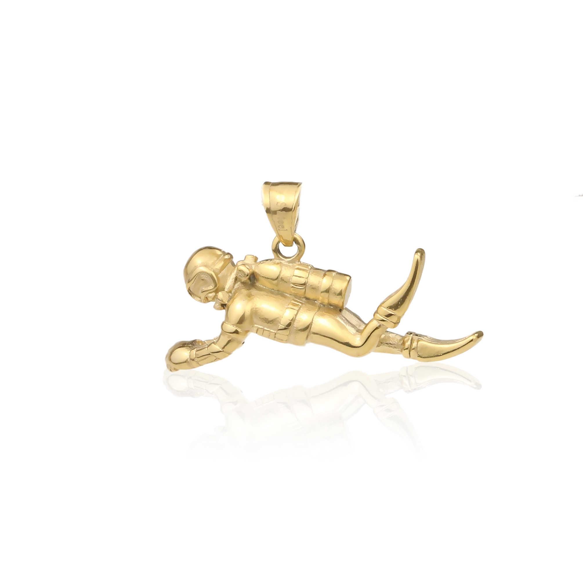 316L Rvs 3D Diver Bedels Hangers Voor Sieraden Maken Retro Tone Charms Armband Diy Waterdichte Ketting Accessoires