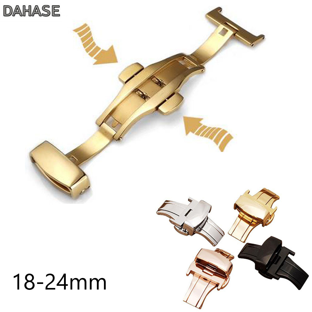 Butterfly Deployment Buckle Automatic Double Click Stainless Steel Strap Button For Watch Band 10 12 14 16 18 20 22 24mm