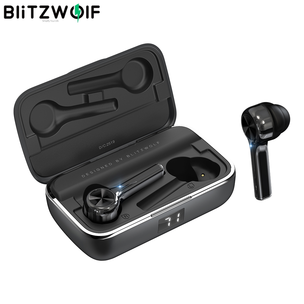 BlitzWolf FYE6 Long Handle bluetooth 5.0 TWS True Wireless Earphone Graphene Digital Display Bilateral Call Headphones Headset
