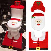 Adornos navideños para el hogar Noel Navidad 2019 cubierta de asiento de inodoro conjunto de baño de nacimiento navidad decoraciones para el hogar
