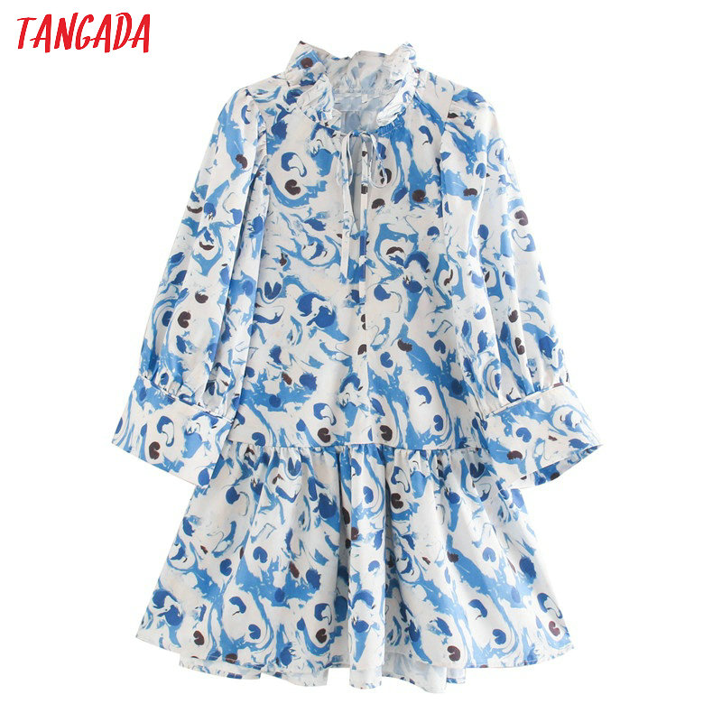 Tangada Women Flowers Print Oversized Mini Dress Bow Long Sleeve Ladies Loose Short Dress Vestidos XN457