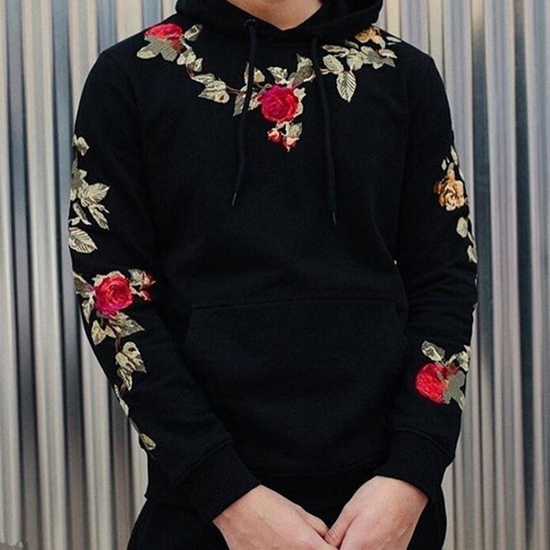Harajuku Embroidered Flowers Hooded Sweatshirts Pullover Hoodies Streetwear Mens Hip Hop Men Top