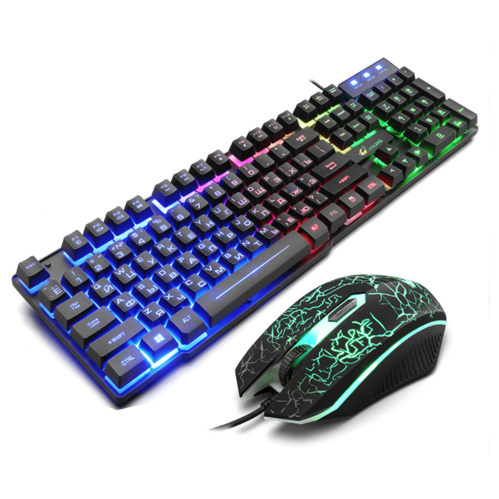 T5 Keyboard Rainbow Backlight Usb Ergonomic Gaming Russian Keyboard And Mouse Set For PC Laptop With Mouse Pad Gaming Keyboard