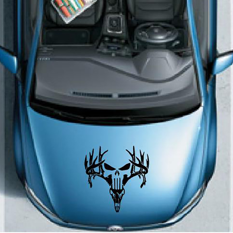 free shipping 1PC deer skull vinyl graphics decals car sticker for pickup window  tail gate