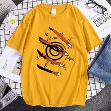 Camiseta homem legal rua moda anime kurama ninjutsu aparecer t-shirts harajuku roupas masculinas tripulação pescoço solto masculino t camisas