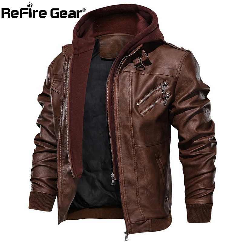 ReFire Gear Bomber PU Leather Jacket Men Vintage Hoodie Pilot Military Tactical Jacket Winter Thick Warm Casual Motorcycle Coats