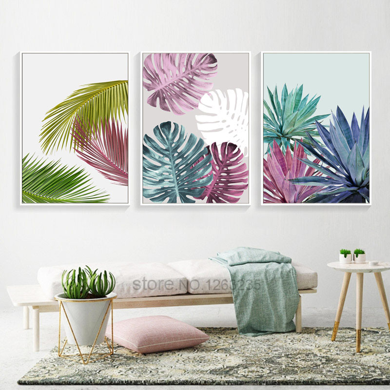Colorful Leaf Nordic Poster Posters And Prints Wall Art Canvas Painting Wall Pictures For Living Room Cuadros Picture Unframed