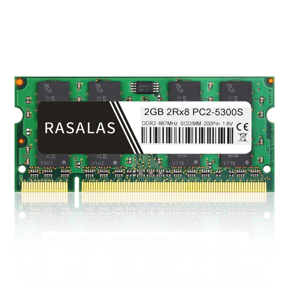 Rasalas 2GB DDR2 667Mhz 800Mhz PC2-5300S PC2-6400S SO-DIMM 1,8V ordinateur portable RAM 200Pin ordinateur portable mémoire sodimm