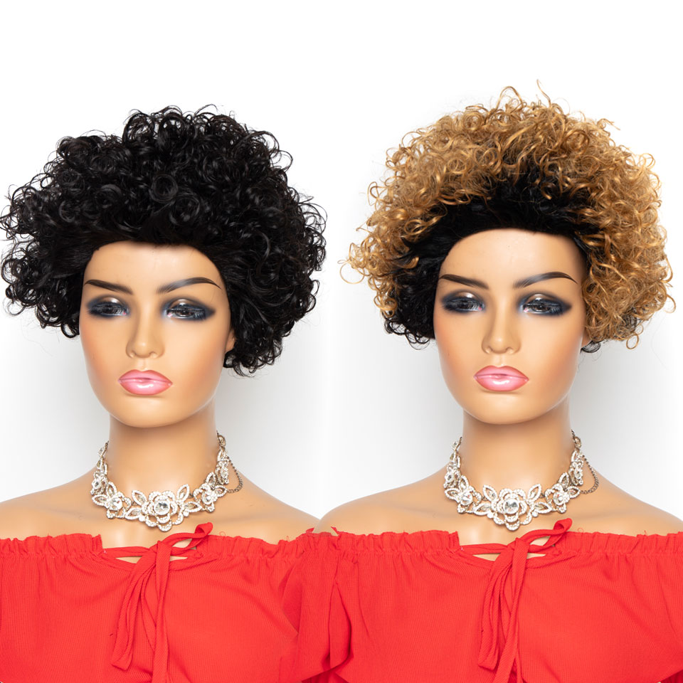 Short Curly Bob Wigs Peruvian Jerry Curl Human Hair Wigs For Woman Remy Glueless Machine Made Wig Ombre Blonde T1B/27 Wigs