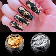 1 коробка золото серебро неправильная алюминиевая фольга Золото 3D Красочные флаконы DIY УФ Гель-лак для дизайна ногтей Наклейка для декора