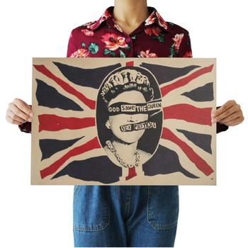 God save the Queen Rock retro poster kraft vintage posters bar coffee bar decorated 51x35cm image
