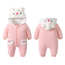 Warm winter thickened jumpsuit male baby cartoon hair cloth quilted female hooded rabbit costume
