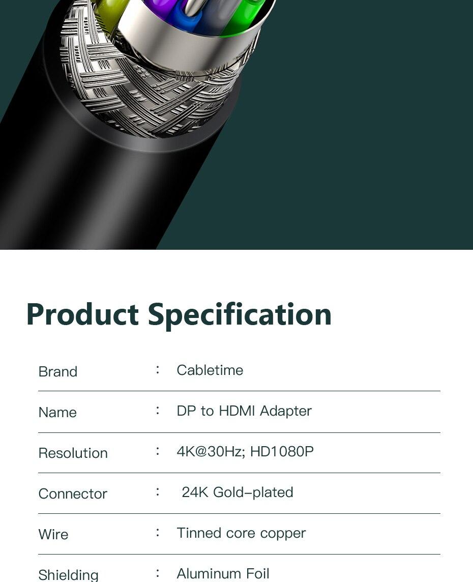 Cabletime Dp Naar Hdmi-Compatibel M/F Converter 4K/2K Display Port Naar Hdmi-compatibel Adapter Displayport Hdmi 4Kfor Macbook N007 24