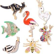 Animal Fish Kangaroo Bee Snail Flamingo Deer Rhinestone Pin Brooch Accessories