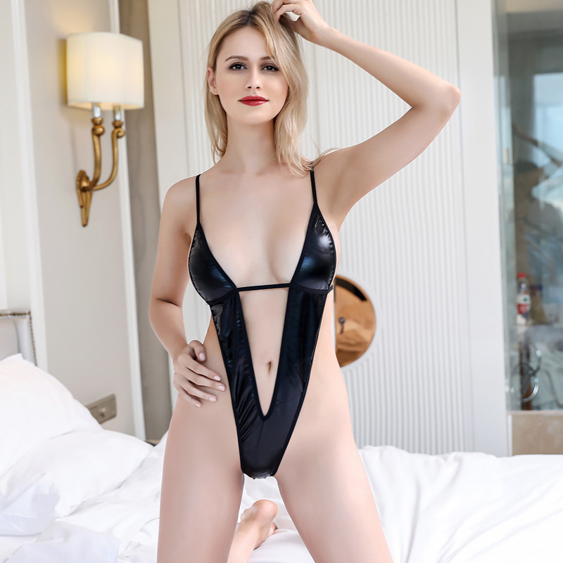 Bodies Women <font><b>Sexy</b></font> Teddy <font><b>Erotic</b></font> <font><b>Lingerie</b></font> Three Point Deep V Neck Porno Costumes Black <font><b>Latex</b></font> Underwear Backless Sex Outfit image