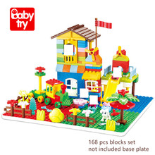 168pcs Duplo Building Bricks DIY Park Education Juguete Toys 2019 New Girls Birthday Gifts Compatible City Blocks For kids