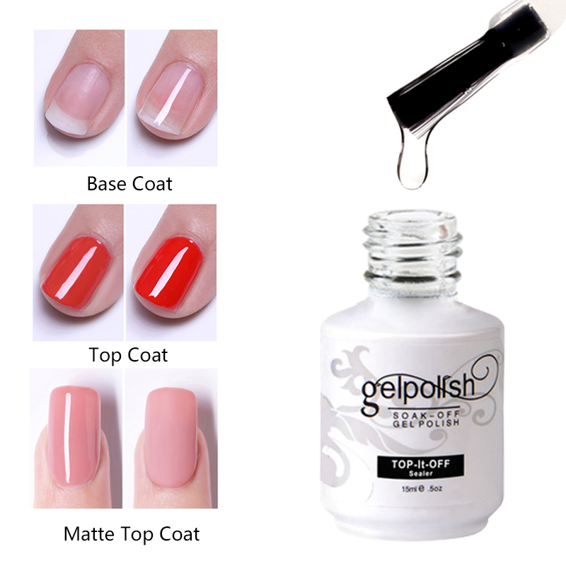 Gel Base And Top Coat Nail 15ml Top Coat Gel Varnish Gel Nail Polish Primer Bottom Long Lasting Soak Off UV Gel Nails Art Store