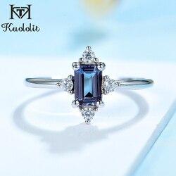 Kuololit Lab Alexandriet Ring Voor Vrouwen Solid 925 Sterling Zilver Emerald Cut Sieraden Voor Bruiloft Engagement Bridal Beloven Nieuwe