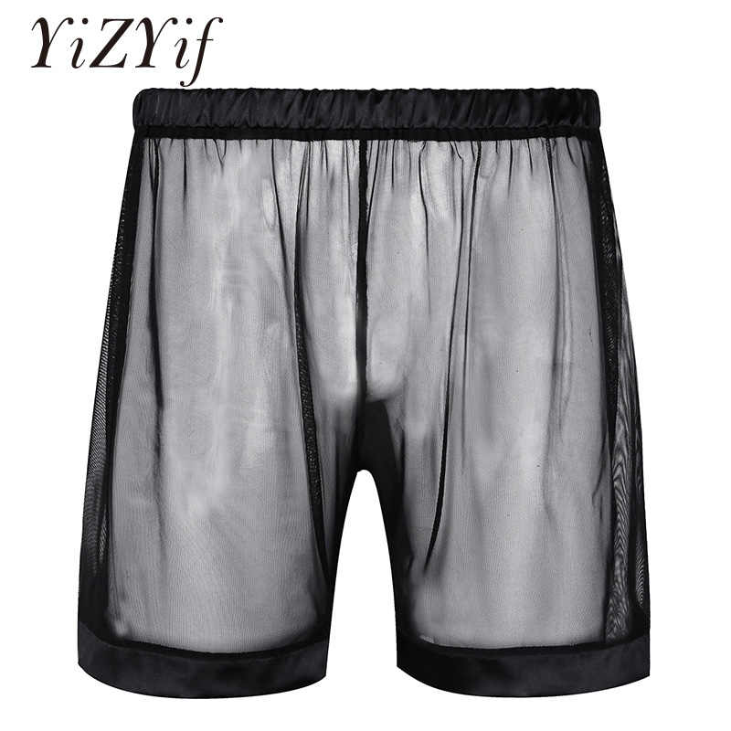 Yizyif Sexy Mannen Zomer Zacht Lingerie Mesh Super See-Through Losse Boxer Shorts Nachtkleding Mannen Stretchy Lounge Ondergoed shorts