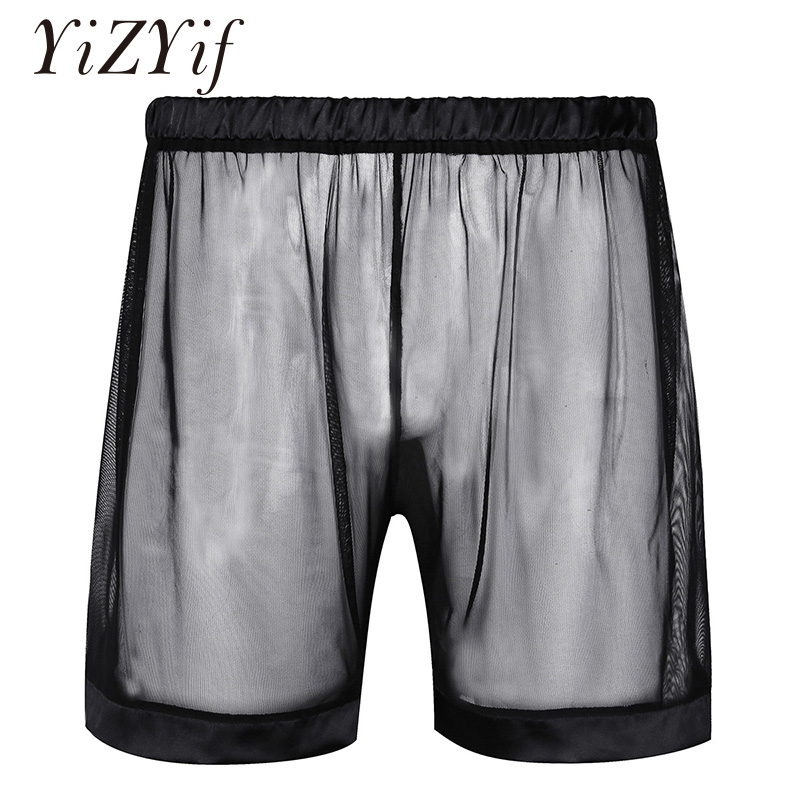 YiZYiF Mens Fishnet See Through Drawstring Boxer Shorts Breathable Lounge Trunks Briefs Underwear