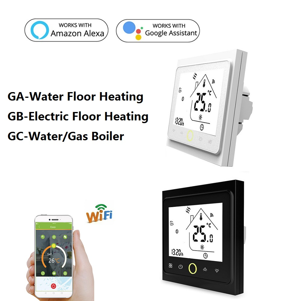 AC95~240V WiFi Temperature Controller Electric Floor Heating Water/Gas Boiler Thermostat Works With Google Home Alexa