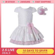 Summer Dress Girl Princess Kids Cute Clothing Party-Wear White Jacquard