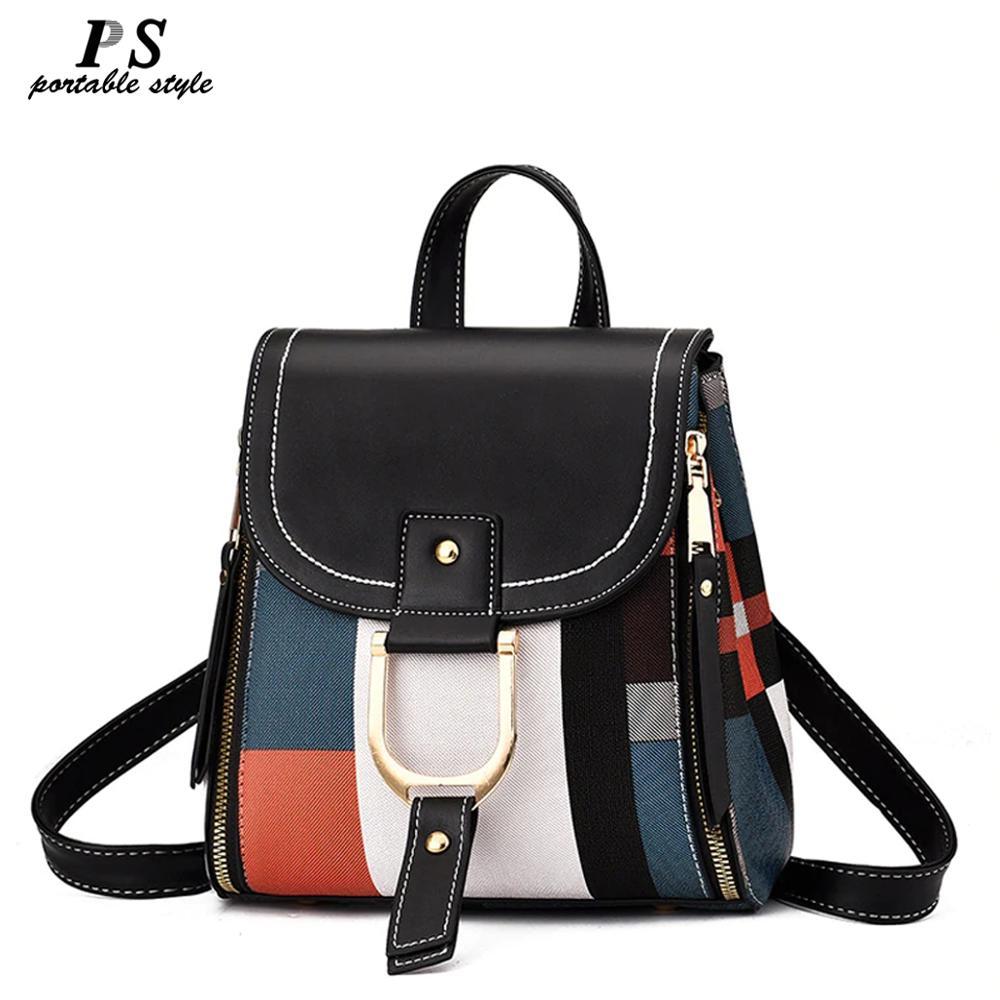High Quality PU Leather Women Backpack Bag Shoulder School Bag For Girls Teenage Multi-use Daypack Knapsack Hand Bag Crossbody