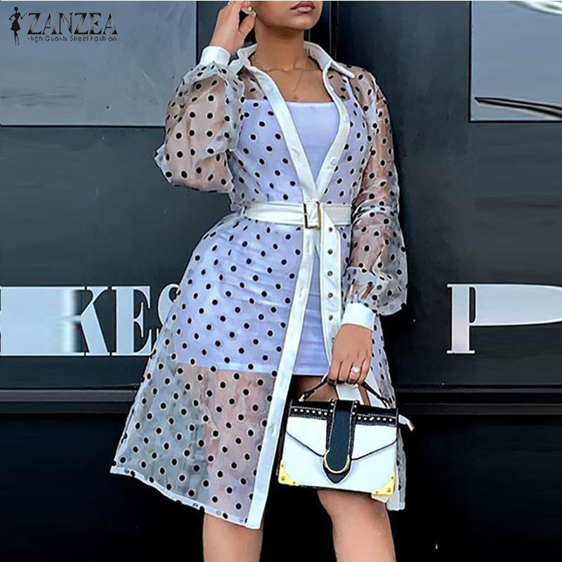 ZANZEA 2020 Summer Women Open Front Cardigans Long Puff Sleeve Polka Dot Print Long Shirts Sexy See Through Blouses Loose Tops