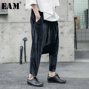 [EAM] High Elastic Waist Black Velvet Long Wide Leg Trousers New Loose Fit Pants Women Fashion Tide Spring Autumn 2020 1R602