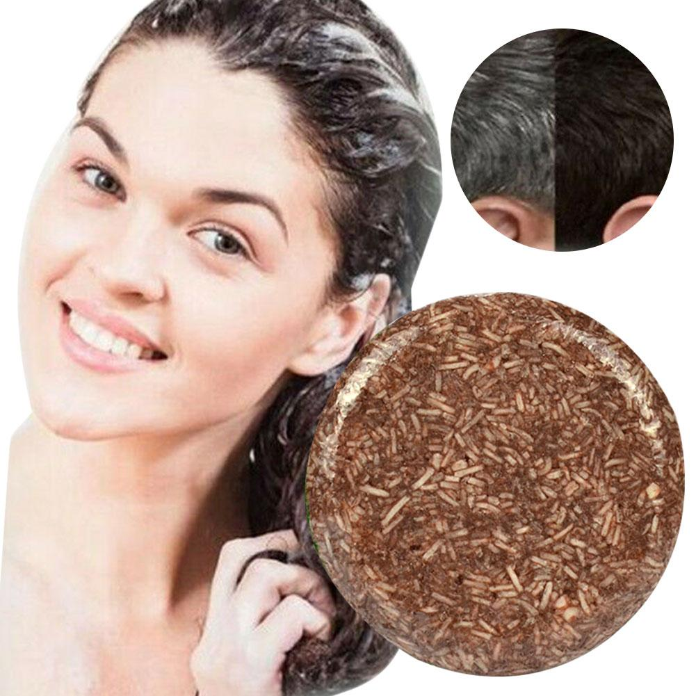 55g Handmade Shampoo Bar Hair Darkening Washing Repair Nourish Natural Soap It Can Help Make Your Hair More Black And Smooth.