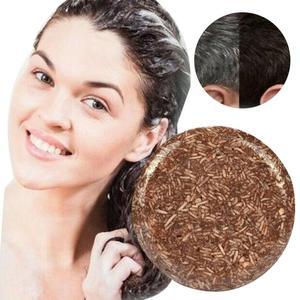 55 г шампуня ручной работы, увлажнение и потемнение волос, питающее натуральное мыло, помогает сделать волосы более черными и гладкими.