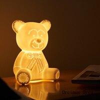 Мультяшная креативная Настольная лампа с медведем  прикроватная лампа для спальни в детской комнате  скандинавские Современные Простые на...