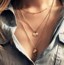 Trendy Women Multilayer Necklace Gold Color 3 Layers Round Metal&Conch Pendant Choker Chains Jewelry Bijoux Femme