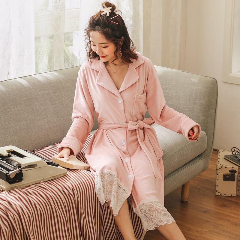 Pink Warm Nightgown Winter Sleepwear  Velvet Women Elegant Nightdress Lace Long Homewear Dress Coral