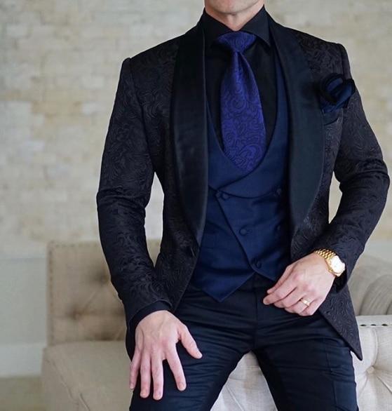 SZMANLIZI мужские свадебные костюмы 2019 итальянский дизайн на заказ черный смокинг пиджак 3 шт TERNO для жениха костюмы для мужчин - 4