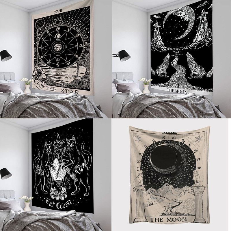 Tarot Sun And Moon Pattern Blanket Tarot Indian Mandala Tapestry Wall Hanging Bohemia Gypsy Home Bedroom Decorating Throw