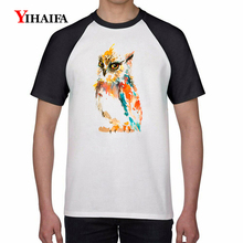 Mens T Shirts 3D Colorful Owl Graphic Tees Hip Hop Tee Black Short Sleeve White Tops Casual Unisex T-shirt