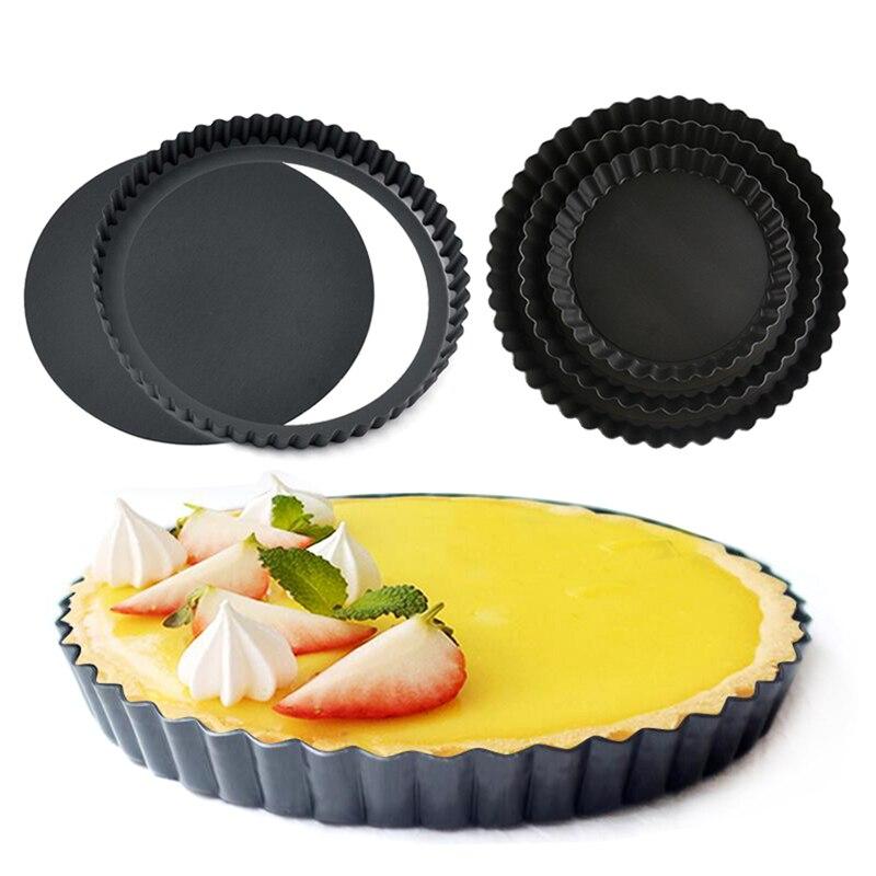 Antiadhésive tarte Quiche Flan Pan moules tarte Pizza gâteau rond moule amovible fond libre cannelé résistant moule à tarte ustensiles de cuisson GYH