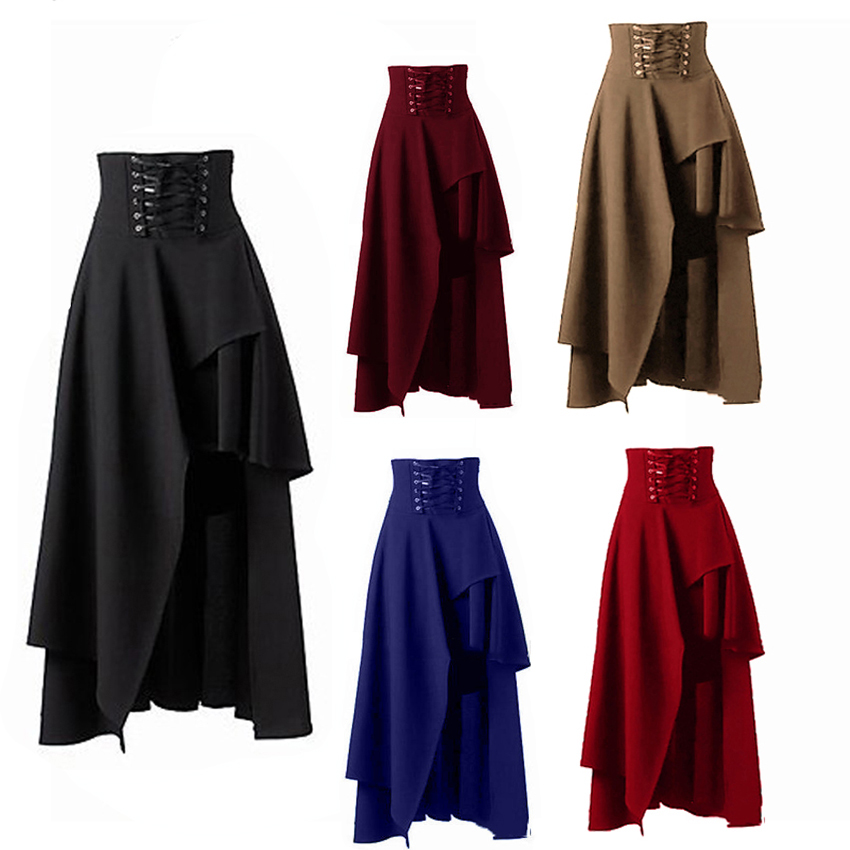 Lolita Style Women Vintage Medieval Skirt Bandage Gothic Revival Party Masquerade Wearing Costumes Pirate Draped Skirt 5 Colors