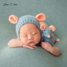 Jane Z Ann Newborn/100 days photography 3 colors mouse props hat +dolls theme photo props for year of the Mouse baby shower gift