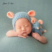 Jane Z Ann noworodka/100 dni fotografia 3 kolory mysz rekwizyty kapelusz + lalki zdjęcie tematyczne rekwizyty na rok myszy prezent na baby shower
