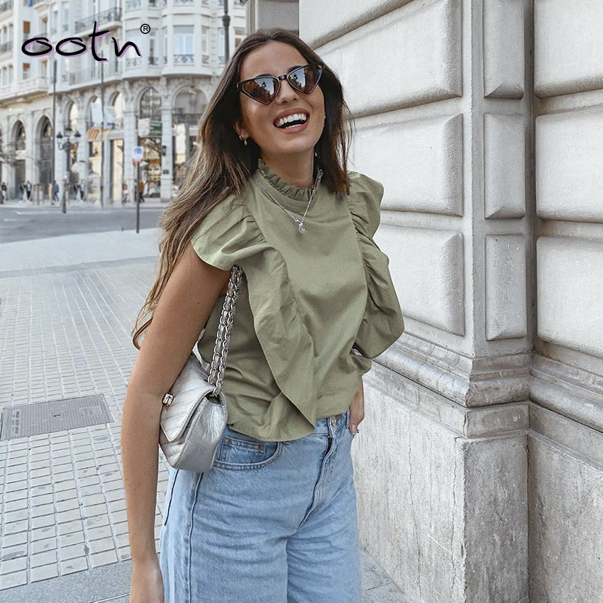Summer Sleeveless Green Shirt Women Fashion Office Blouses Woman Ruffled Button Down Shirts Top Female 2020 Casual Ladies Tops