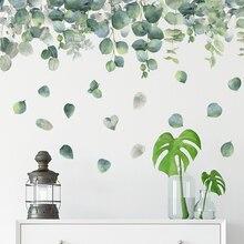 99*64CM pegatina de pared hojas de Eucalyptus cuadros de pared para sala de estar dormitorio baño Vintage casa decoración carteles Mural