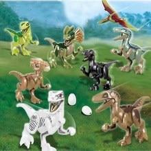 8pcs/Set Jurassic Dinosaurs World Park Tyrannosaurus Rex Dinosaur Building Blocks Set Kids Toy juguetes Compatible large 2 pcs set jurassic park dinosaurs world tyrannosaurus cartoon assembled toys model building blocks gift for kids legoing