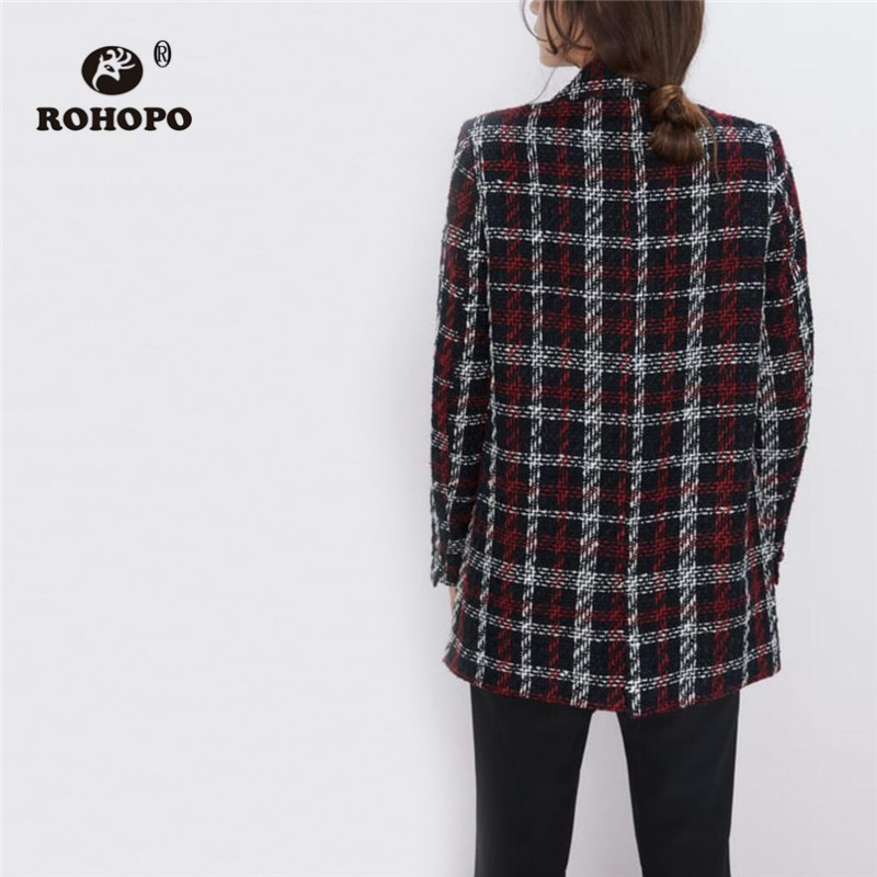ROHOPO Notched Collar Tweed Plaid Double Buttons Blazer White Red Cross Striped Thick Blend Thick Straight Outwear #9804